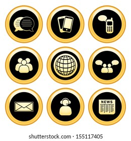 Business Communications Icons Gold Icon Set