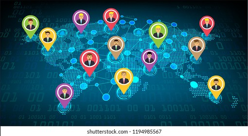 Business community network with the world map, businessman