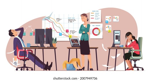 Niedergang des Unternehmens, Konkurs oder finanzieller Verlust. Frustriertes Team erlebt Stress und Brenout im Firmenbüro. Rezessionsverlust-Krise Problem. Flache Vektorgrafik von Geschäftsversagen