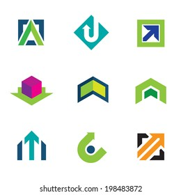 Business company economy green arrow progress logo icon set