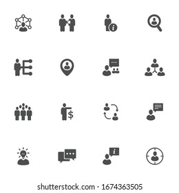 Business company flat icons in gray. Set of 16 pieces.