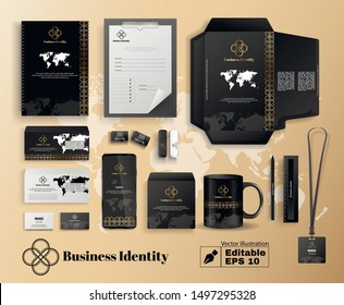 Business Company Identity in Black Gold Color with World Map Design. Promotional Stationery Set. Package Brochure Catalog Cover Editable Mockup. Logotype on Mug Letter Vector Illustration