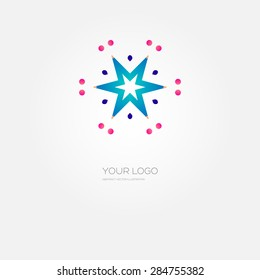 Business Company Logo Template. Line Style Design