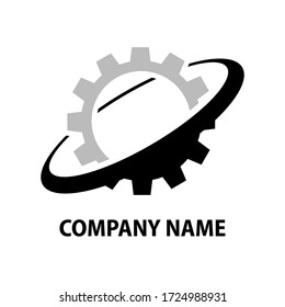 Business company logotype design element. Science, factory, technology symbol. Industrial cogwheel, technical gear icon. Isolated vector pictogram.