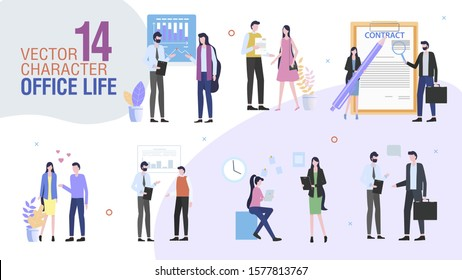 Business Company Office Workers Trendy Flat Vector Characters Set. Female, Male Employees or Entrepreneurs Talking, Communicating with Colleagues, Singing Contract, Planning Strategy Illustration - Shutterstock ID 1577813767