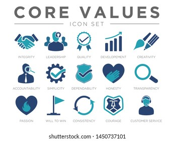 Business Company Values Icon Set.  Integrity, Leadership, Quality and Development, Creativity, Accountability, Simplicity, Dependability, Honesty, Transparency, Passion, Will to win, Consistency Icons
