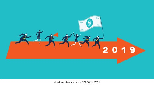 Business competition 2019. Business persons racing on the arrows new year. Concept vector illustration. - Vector