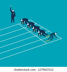 Business competition. Businessman running in the opposite direction. Concept vector illustration. - Vector
