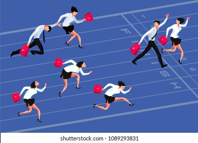 Business competition. Cartoon businessmen and business women racing to the finish line. Winners and losers. Vector illustration