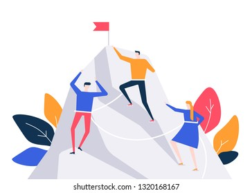Business competition - colorful flat design style illustration on white background. A composition with male, female characters climbing a mountain, trying to reach the top first. Motivation concept