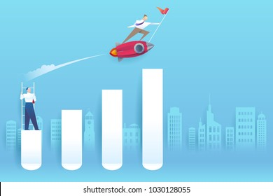 Business competition concept. Businessman flying forward with a rocket engine racing to success on business. Vector concept illustration with paper style.