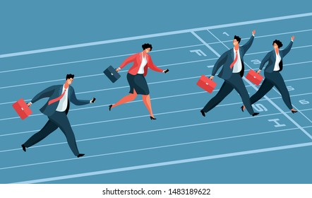 Business competition concept. Businessmen and business women as winners and losers, running to the finish line. Vector illustration