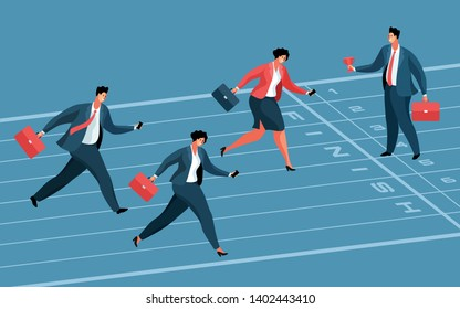 Business competition concept. Businesswoman as winner and two businessmen as losers, running to the finish line. Boss standing with winner's cup. Vector illustration