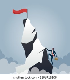 Business competition concept - Business man climbing up the mountain to achieve success