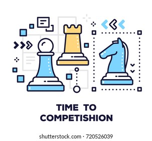 Business competition concept on white background with title. Vector illustration of chess pieces: pawn, rook and horse. Thin line art design for web, site, banner, business presentation