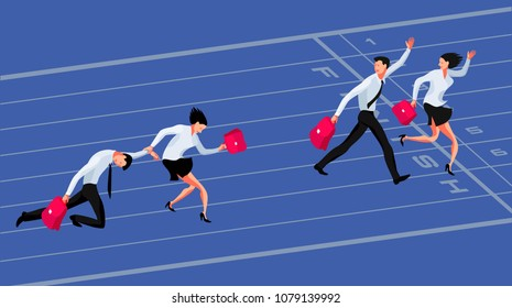 Business competition concept. Two couple of businessmen, winners and losers, racing to the finish line. Vector illustration