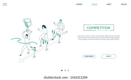 Business competition - line design style isometric web banner on white background with copy space for text. A website header with male, female characters jumping over obstacles, hurdles. Leadership