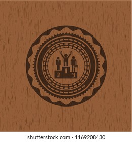 business competition, podium icon inside badge with wood background