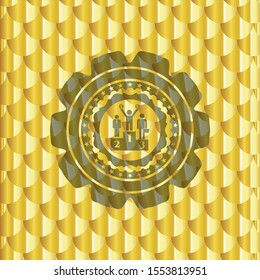 business competition, podium icon inside gold emblem. Scales pattern. Vector Illustration. Detailed.
