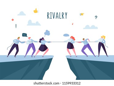 Business Competition, Rivalry Concept. Flat Business People Characters Pulling Rope. Corporate Conflict. Vector illustration
