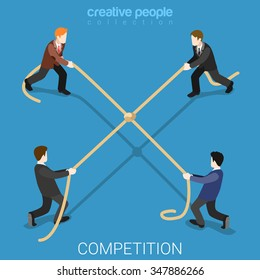 Business competition tie flat 3d isometry isometric concept web vector illustration. Businessmen tug-of-war rope pulling four sides draw knot node in center. Creative people collection.