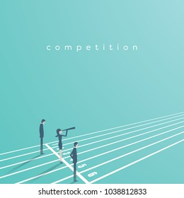 Business competition vector concept with businessman and businesswoman on running track. Symbol of rivals, gender equality, challenge, leadership. Eps10 vector illustration.