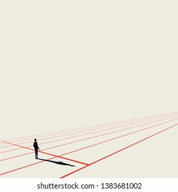 Business competition vector concept with businessman on starting line. Minimalist art style. Symbol of career beginning, challenge, strategy, plan, goals in future. Eps10 illustration.