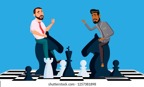 Business Competition Vector. Two Businessmen Riding Chess Horses Black And White To Meet Each Other. Illustration