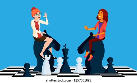 Business Competition Vector. Two Business Woman Riding Chess Horses Black And White To Meet Each Other. Illustration