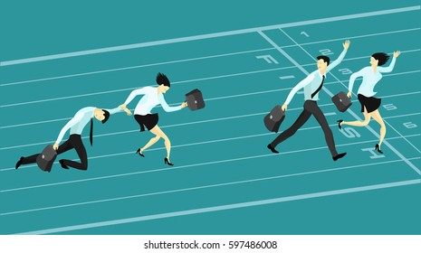 Business competition, winners and losers. Businessmen and business women racing to the finish line. Concept vector illustration
