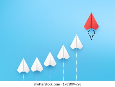 Business competitor advantage of paper plane in new direction,  competitor individual pointing in different ways for new competitive solution on 3D render vector. leadership for new ideas competition.