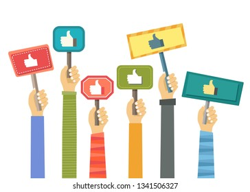 Business compliment concept. Thumbs up hands. Flat vector illustration