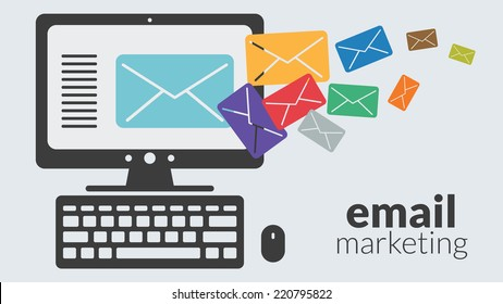 Business computer with email marketing. Vector concept for online advertising
