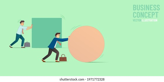 Business concept. 2 businessman pushing the geometric shape. Symbol of difficulty, ambition, motivation, struggle, achievement. Simple flat cartoon. Concept of innovation in business, winning strategy