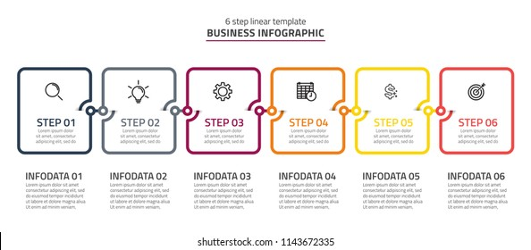 Business concept with 6 steps or processes.Creative design template made from line with square boxs. can be used for workflow layout, diagram, annual report, web design. Vector illustration.