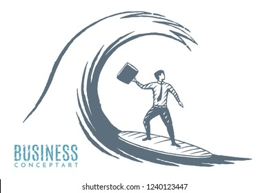 Business concept art sketch, on the crest of a wave. Businessman riding on a surfboard. Vector hand drawn illustration.