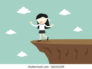 Business concept, Blindfolded businessman is walking to the cliff. Vector illustration.