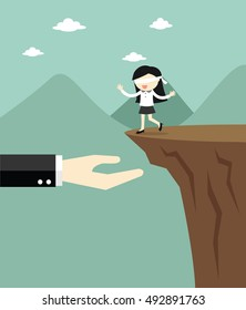 Business concept, Blindfolded business woman is walking to the cliff but the big hand offers to support her. Vector illustration.