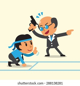 Business concept business boss coaching businessman to run