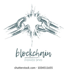 Business concept, broken chain, blockchain, vector illustration, hand drawn, sketch