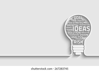 Business concept bulb made with words. Vector Eps10 for your design