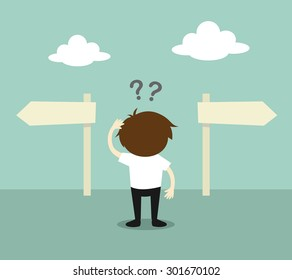 Business concept, Businessman confused about two direction. Vector illustration.