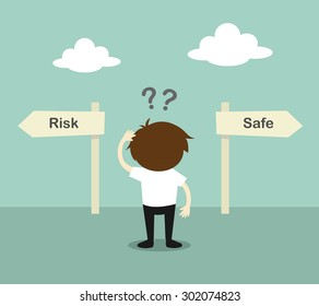 Business concept, Businessman confused about two direction, between risk or safe. Vector illustration.