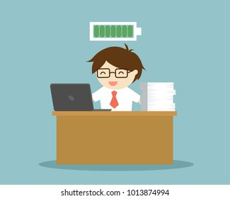 Business concept, Businessman with full battery is working at her desk. Vector illustration.