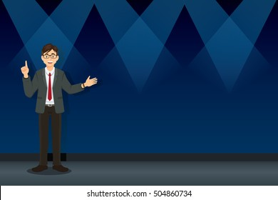 Business concept of businessman giving a speech on stage with text space. CEO, officer, cartoon vector illustration