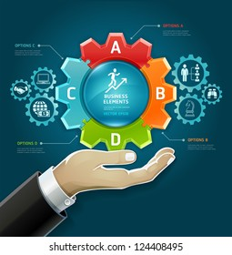 Business concept. businessman hand with business strategy diagram options in Gears symbol. Vector illustration. can be used for workflow layout, diagram, number options , web design, infographics.
