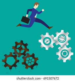 Business Concept As A Businessman Is Highly Jumping Up From Rusty/Obsolete Cogwheels To New Ones. It Means Changing/Improving From Old Process/Procedure To The New/Better One.