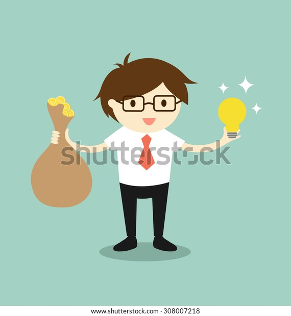 Business concept, Businessman holding a bag of money and idea. Vector illustration.