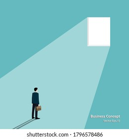 Business concept. businessman looking at the window. the business of success. achievement, startup, target, vector illustration design flat