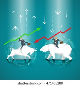 Business Concept. Businessman riding a bull. Businessman riding bear. The symbol of the stock market, bear market, bull market